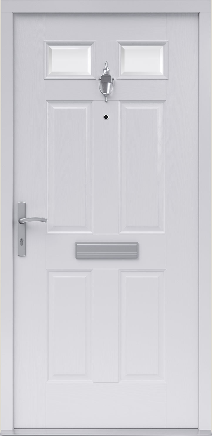 FireShield Door in White. Alnwick style with clear glass