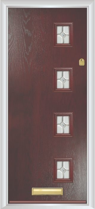 Composite Door - Edison - Contemporary Collection - Rosewood