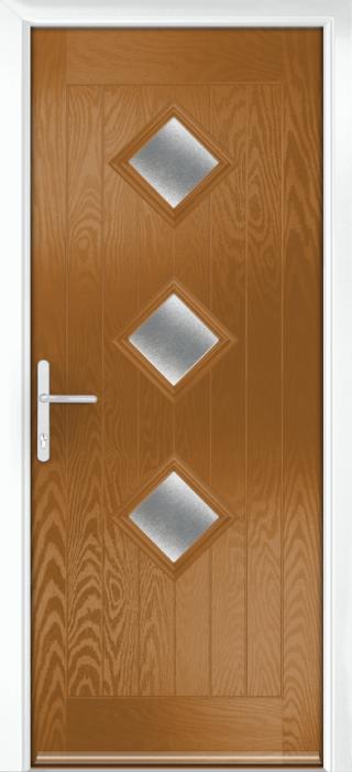 Composite Door - Hornbeam 3 - Rural Collection - Golden Oak